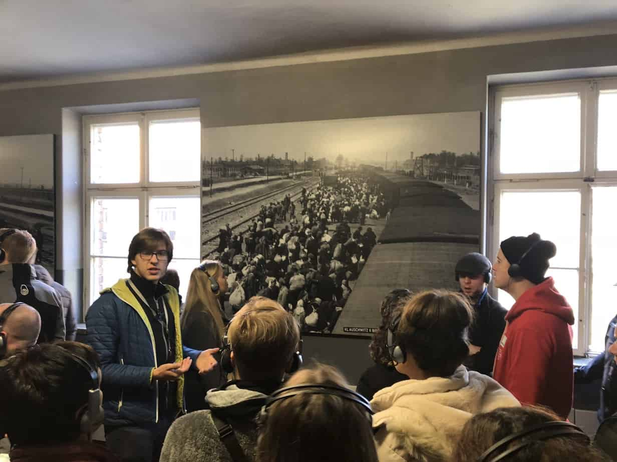 Polish-tour-guide-at-Auschwitz-Birkenau