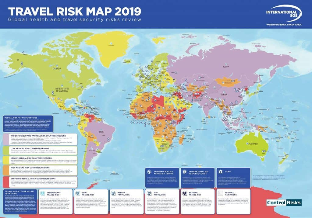 Global-risk-map-for-travelers-2019