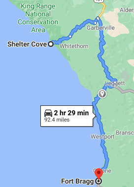 route from Shelter Cove to Fort Bragg, CA