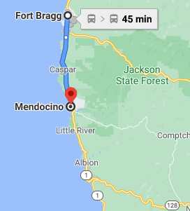 Route from Fort Bragg to Mendocino CA